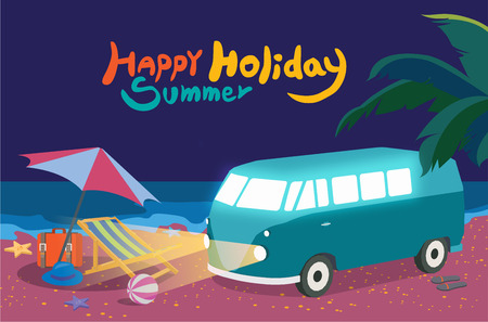 romance bed: Summer holidays illustration,flat design night beach and bus , concept