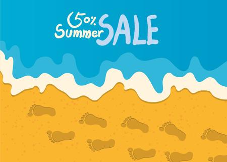 footprint sand: Summer holidays  illustration,flat design beach and summer marketing concept