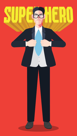 unbuttoned: Flat character of hero businessman concept illustrations