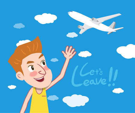 sun bed: Summer holidays illustration,flat design airplane and leaving man Illustration