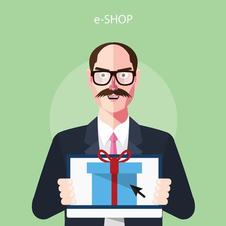 eshop: Flat characters of e-shop concept illustrations