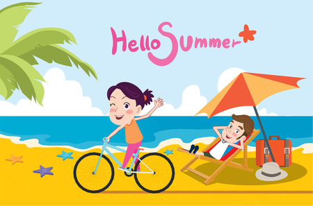 happy couple in bed: Summer holidays  illustration,flat design beach and riding bike concept