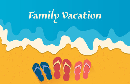 flat shoes: Summer holidays illustration,flat design beach and family sandals concept