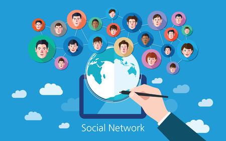 Social media network concept illustration Çizim