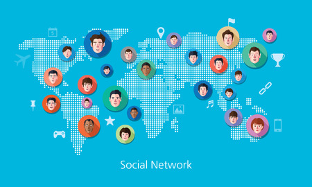 world group: Social media network concept illustration Illustration