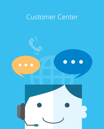 support agent: Flat Business character Series.customer center concept