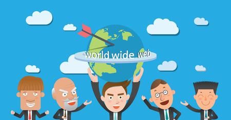 globális üzleti: Business corporation global business concept flat character