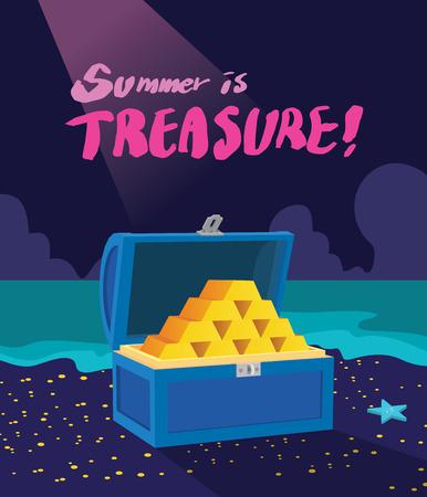cofre del tesoro: Vacaciones de verano ilustraci�n, dise�o plano del tesoro emocionante concepto de caza