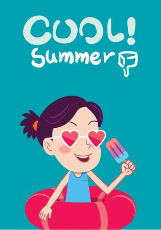 skyblue: Summer holidays illustration,flat design cute kid and icecream concept