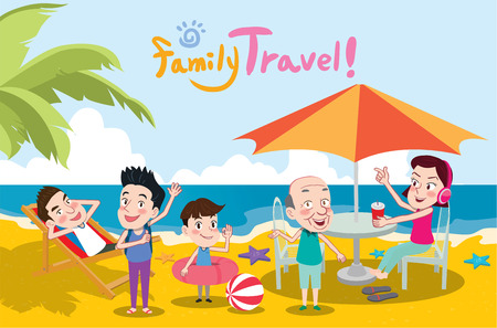 Summer Holidays Illustrationflat Design Family Travel And Beach Concept Vector