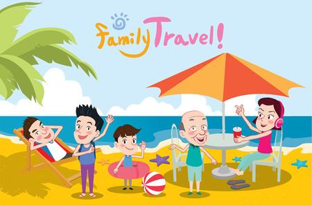 familia viaje: Vacaciones de verano ilustraci�n, dise�o plano los viajes familiares y el concepto de la playa