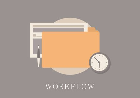 work flow: Modern and classic design work flow concept flat icon. Illustration
