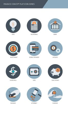 reckoning: Finance and banking business concept Flat icons set Illustration