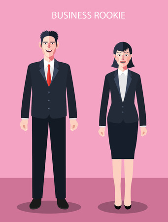 rookie: Flat characters of business rookie people concept illustrations