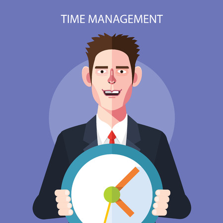 management concept: Flat character of time management concept illustrations