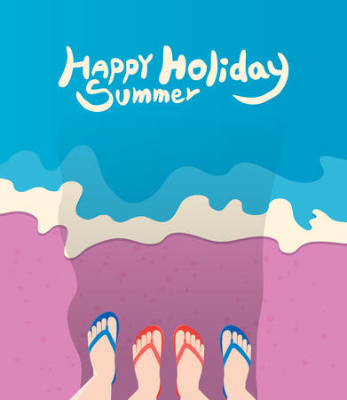family holiday: Summer holidays illustration,flat design beach and family sandals concept