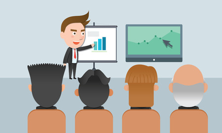 flat character: Business corporation presentation concept flat character Illustration