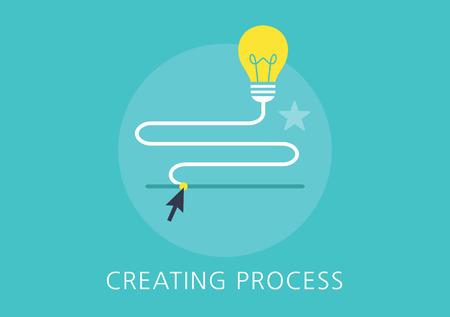 idea creating process concept flat icon Illustration