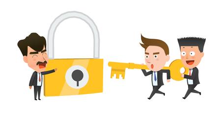 flat character: Business corporation teamwork key concept flat character Illustration