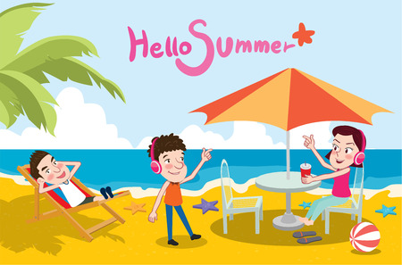 interesting music: Summer holidays illustration,flat design beach and listening to music concept