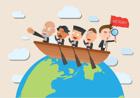 flat character: Business corporation team rowing concept flat character