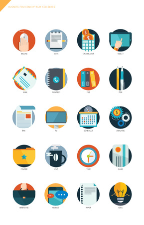 email icons: Business item flat design icon set