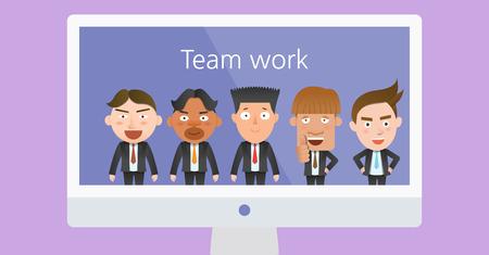 flat character: Business corporation teamwork concept flat character