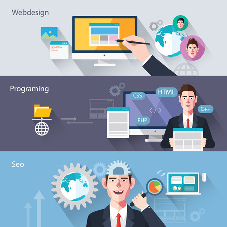 web page elements: Flat characters of web development concept illustrations