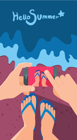 taking picture: Summer holidays illustration,flat design taking picture and memory concept