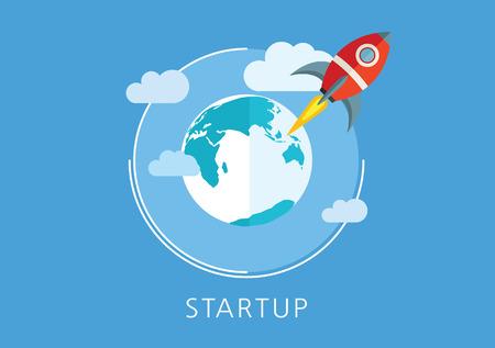 startup concept flat icon Çizim