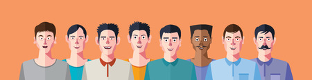 male face profile: Mans social networks club, flat design character Illustration