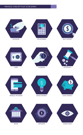 referral: Finance and banking business concept Flat icons set Illustration