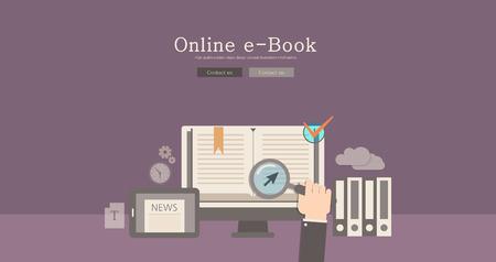 Design moderne et classique en ligne e-book concept illustration Vecteurs