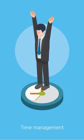 management concept: Tiempo concepto de gesti�n de dise�o 3d ilustraci�n isom�trica Vectores