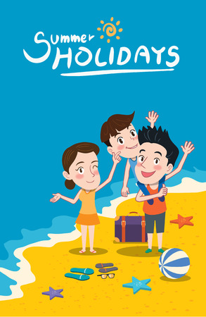 Summer holidays illustration,flat design family and beach concept