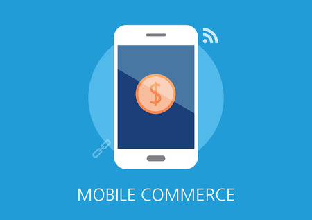 mobile marketing: mobile commerce concept flat icon