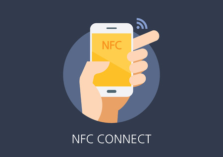 NFC concept flat icon Çizim