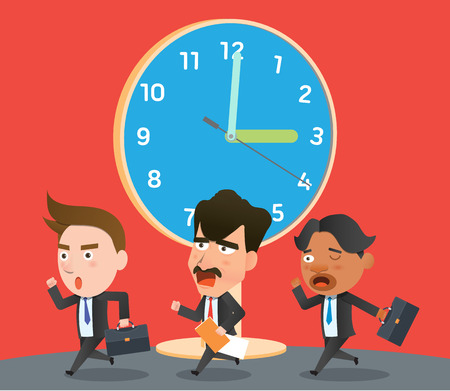 flat character: Business corporation lateness concept flat character Illustration
