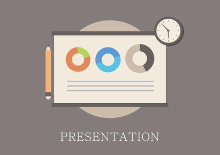 Modern and classic design presentation concept flat icon