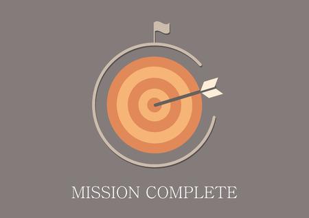 mision: Misi�n de dise�o moderno y cl�sico icono plana concepto completo