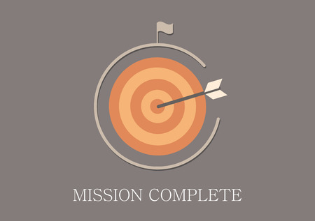 mission: Modern and classic design mission complete concept flat icon