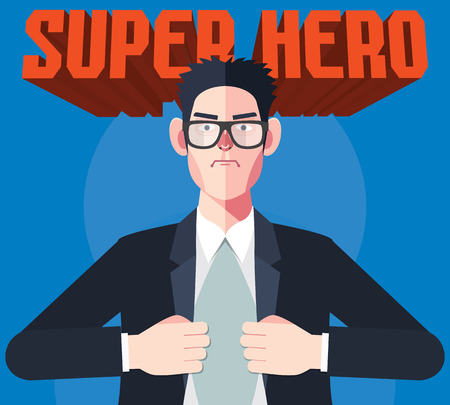 flat character: Flat character of hero businessman concept illustrations