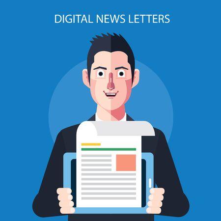 digital news: Flat character of digital news letters concept illustrations Illustration