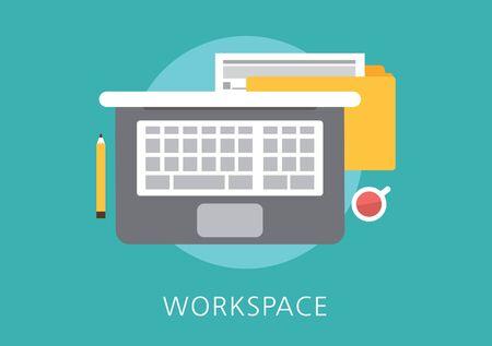 espacio de trabajo: concepto de espacio de trabajo icono plana Vectores