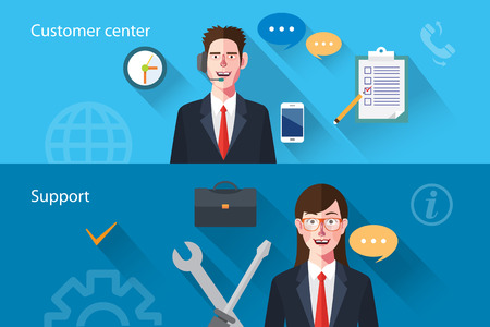 support center: Flat characters of customer support concept illustrations