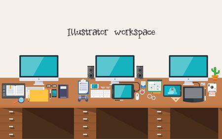 workspace: Developer or Designer Workspace Illustration