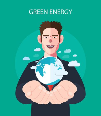 water conservation: Flat character of green energy concept illustrations
