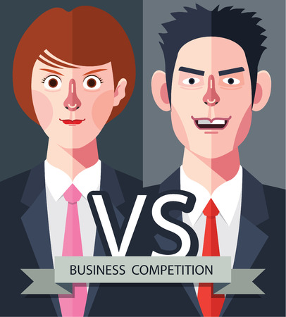concurrence: Flat characters of competition people concept illustrations Illustration