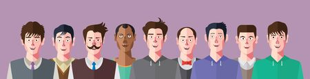 male face profile: flat design characters of social networks club