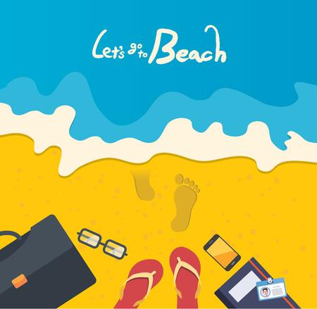 footprint sand: Summer holidays  illustration,flat design business man at the beach , concept